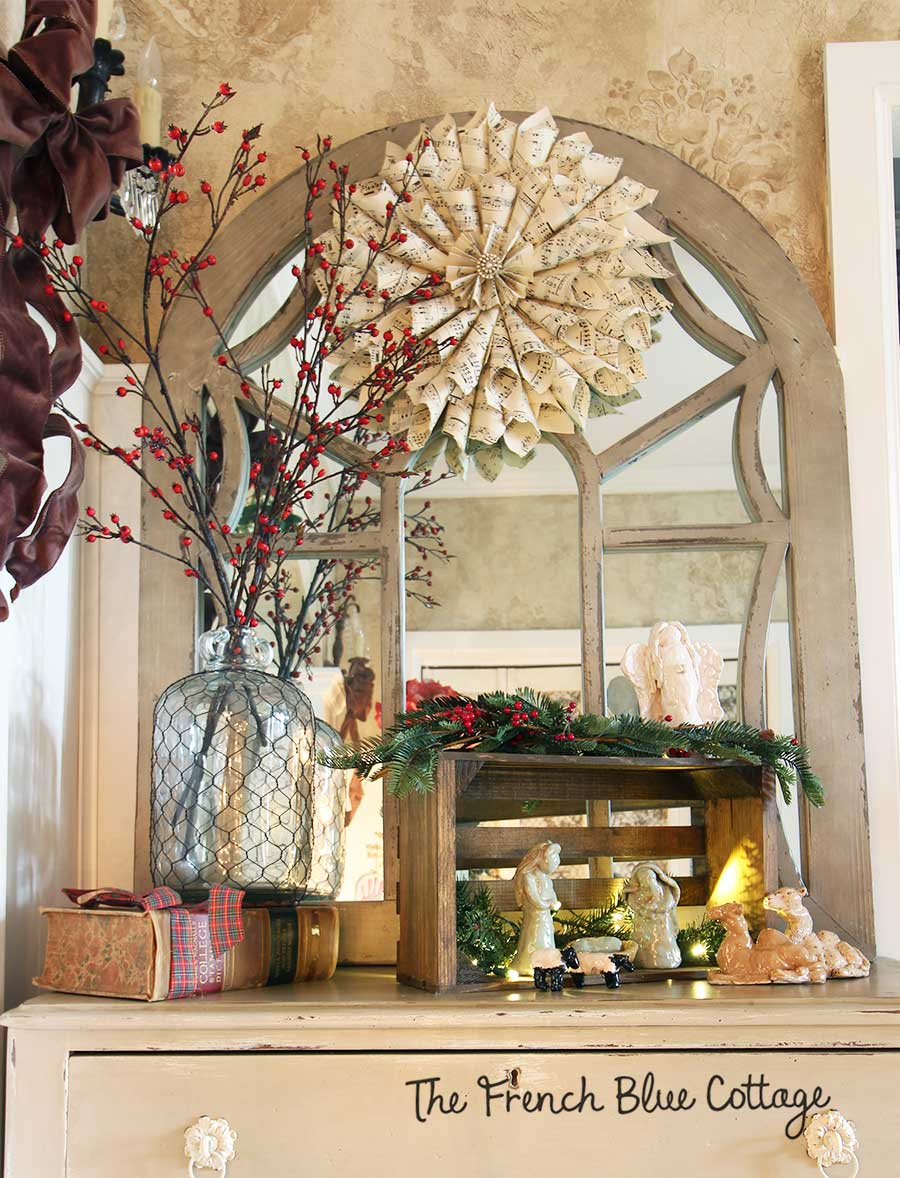 French country Christmas entry table.