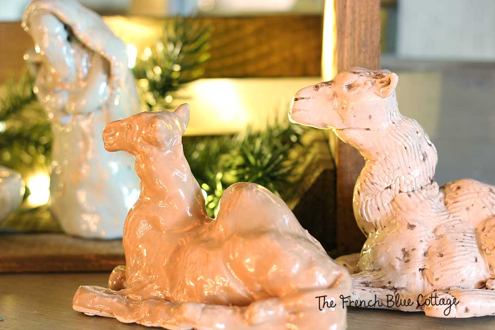 Handmade ceramic camels for nativity set.
