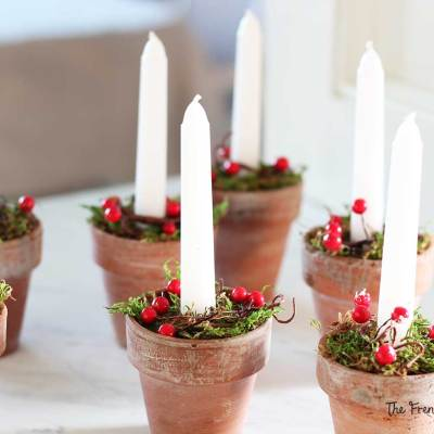 A group of Christmas candles given as hostess gifts or party favors.