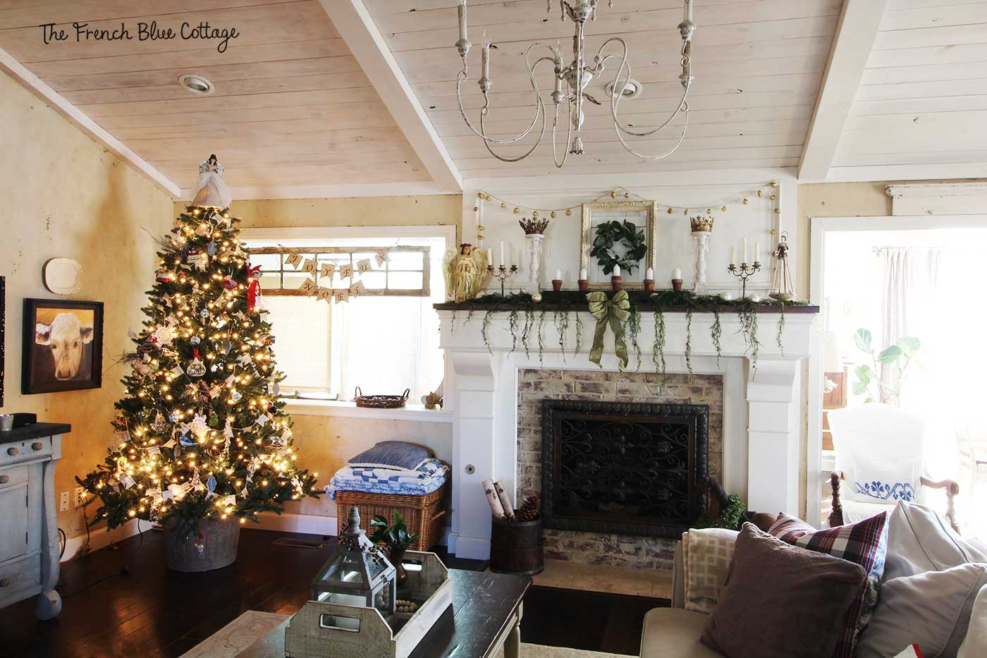 French country Christmas living room.