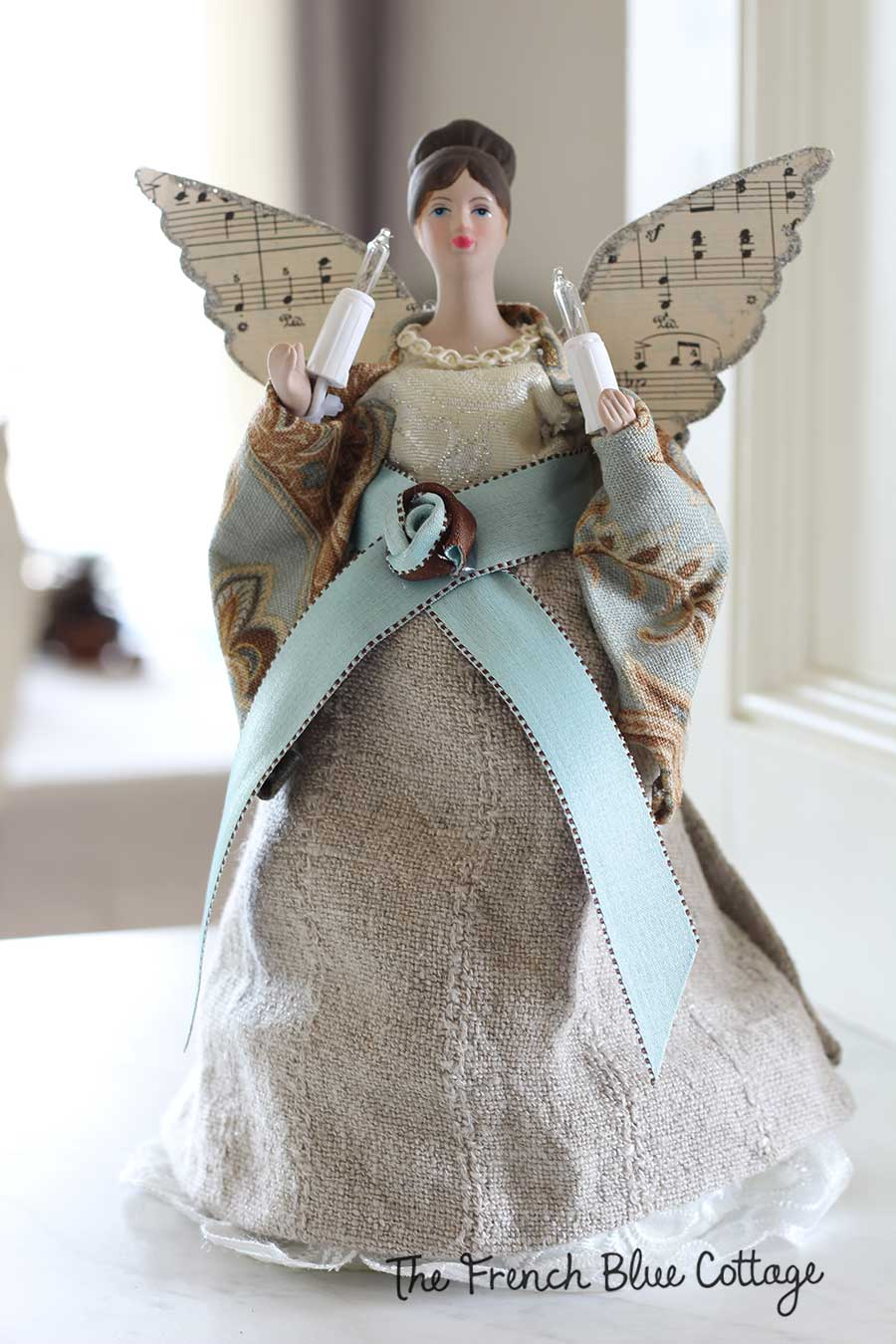 Christmas tree angel gets a French country makeover.