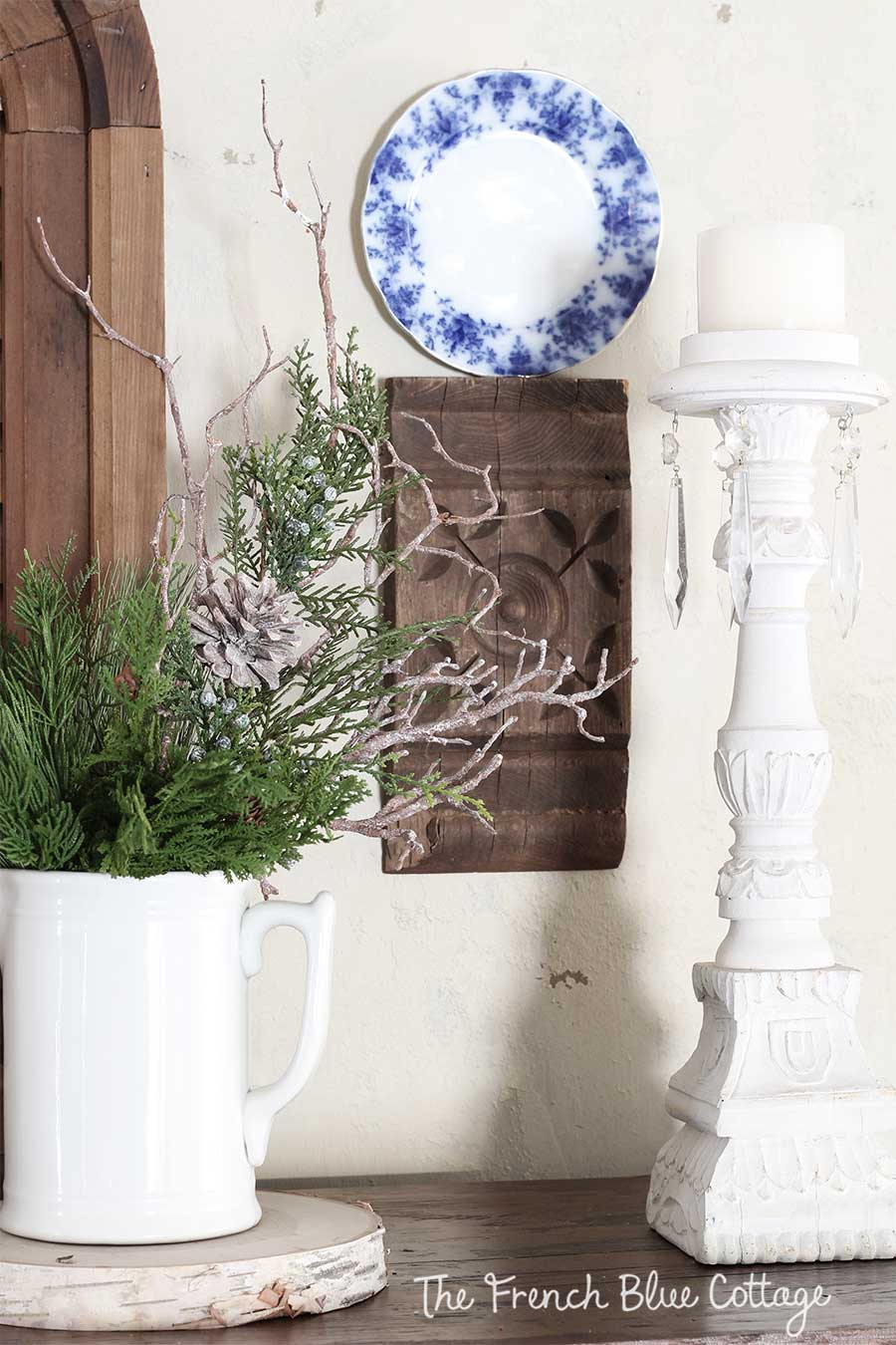 Winter vignette with birch slice and ironstone pitcher.