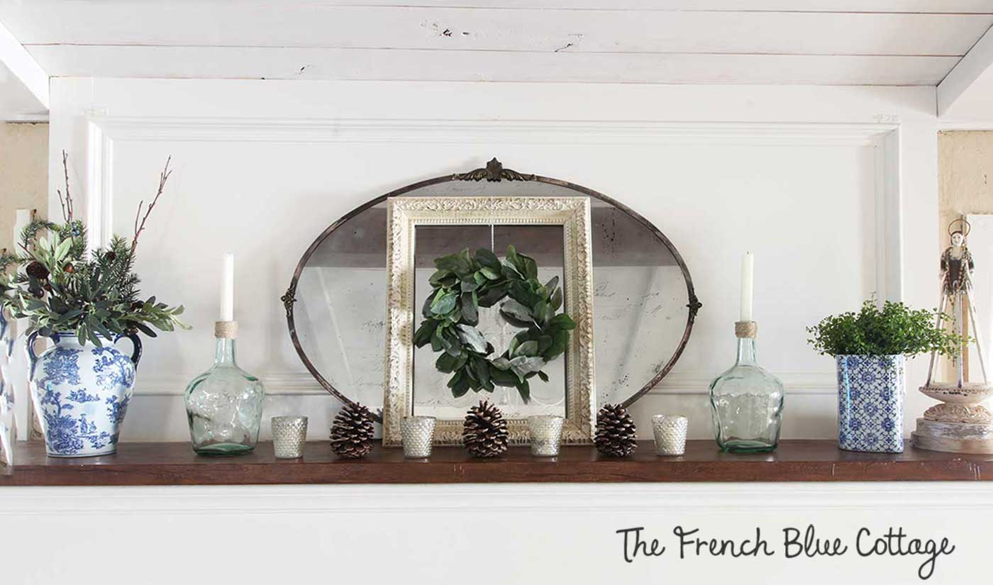 Winter mantel in blue green and white.