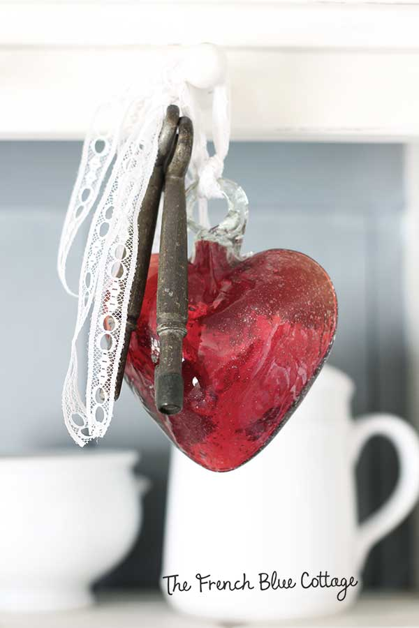 hanging glass heart keys