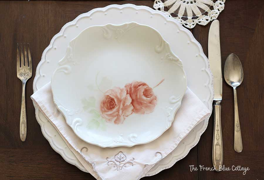 Valentine mismatched china with pink rose plate.