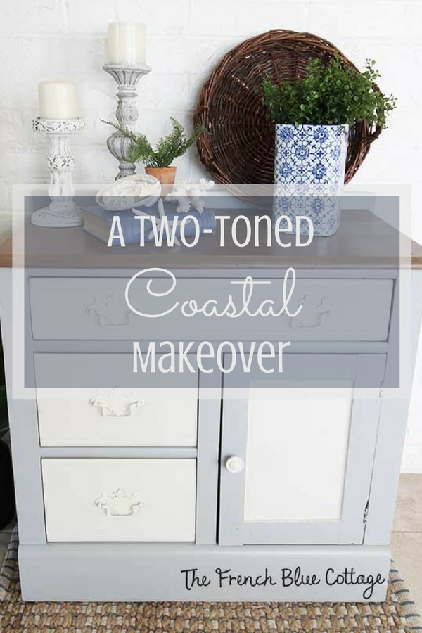 A vintage washstand or small cabinet gets a two-toned coastal makeover with a grayish stained top.