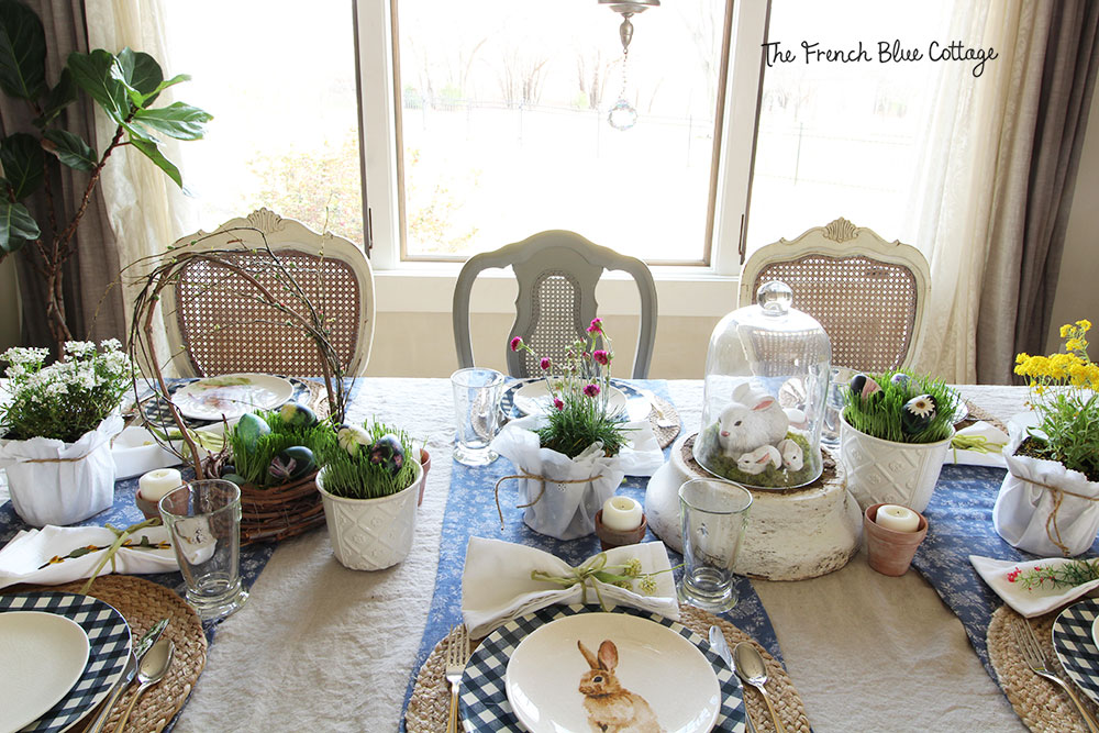 Gingham and bunny table for Easter.