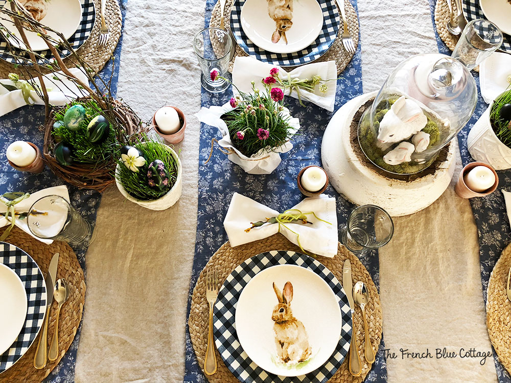 Cloche bunny Easter table with gingham place setting.