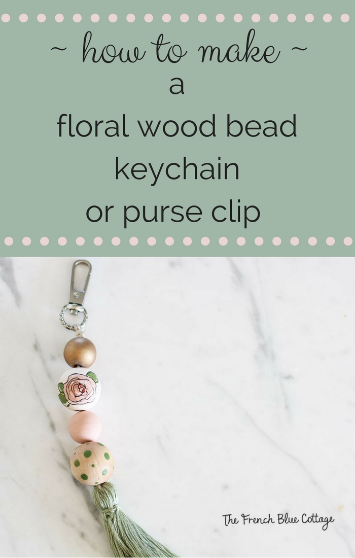 diy painted floral keychain or purse clip
