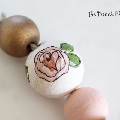 DIY Floral Wood Bead Keychain