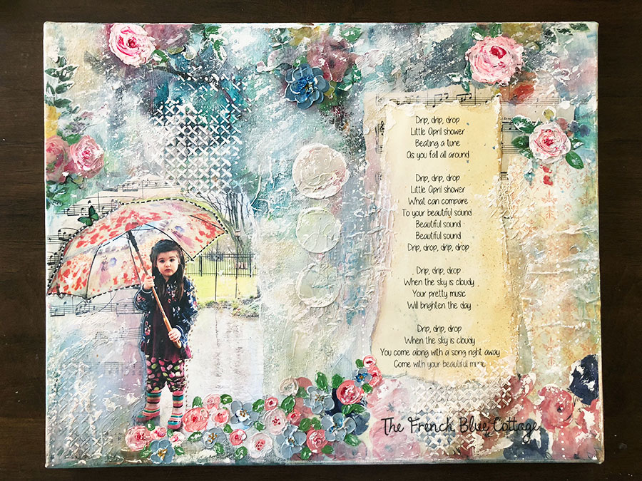 A mixed media collage of a little girl in the rain.