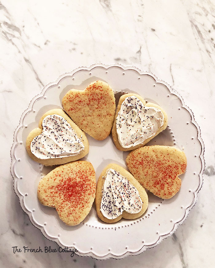 plate of Valentine's Day heart sugar cookies