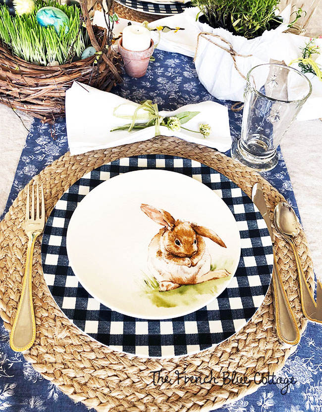 bunny and gingham place setting