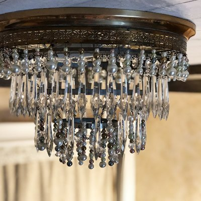 beaded chandelier makeover