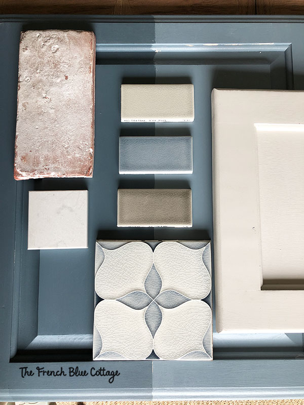 inspiration tile and paint samples for kitchen remodel