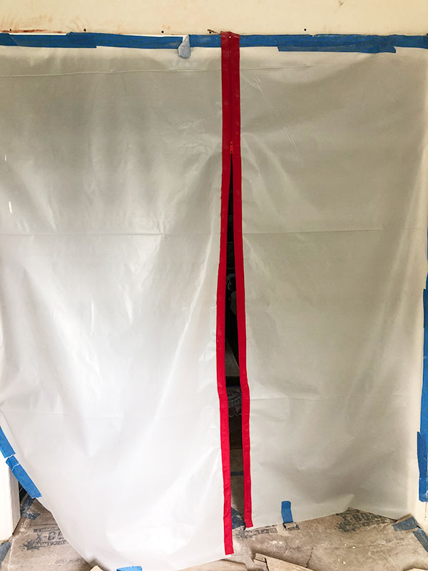 construction sheeting with zipper