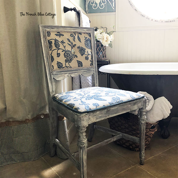 chair makeover next to bathtub