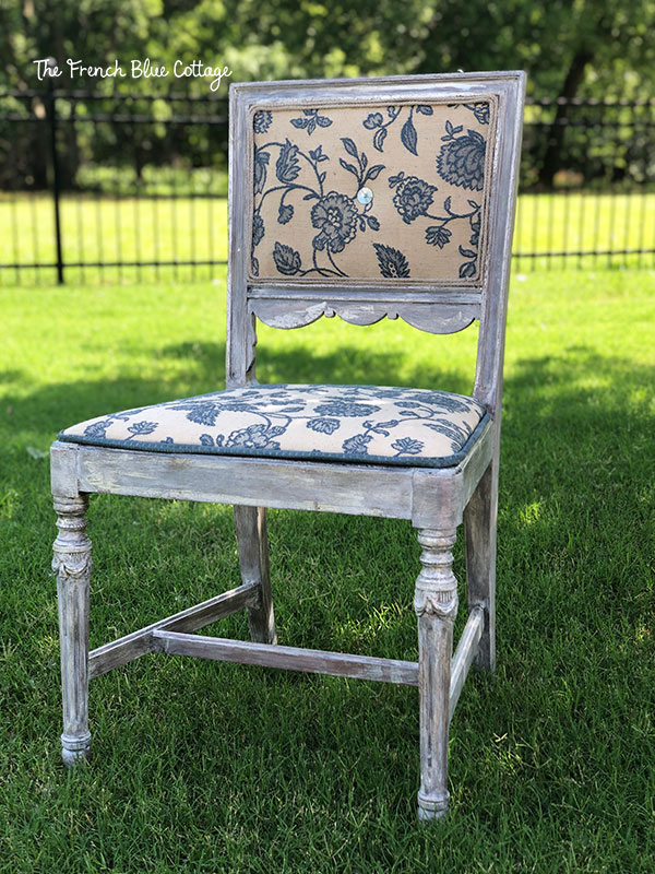 chair makeover blue floral upholstery