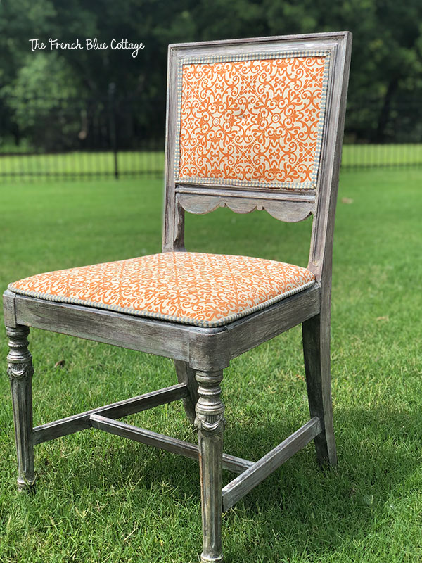 orange chair makeover before