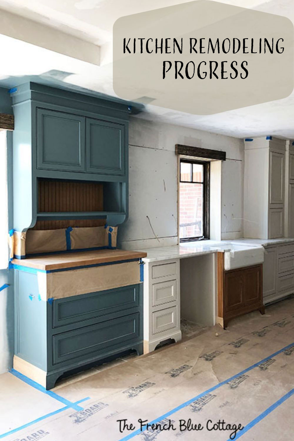 kitchen remodel progress blue and white painted cabinets
