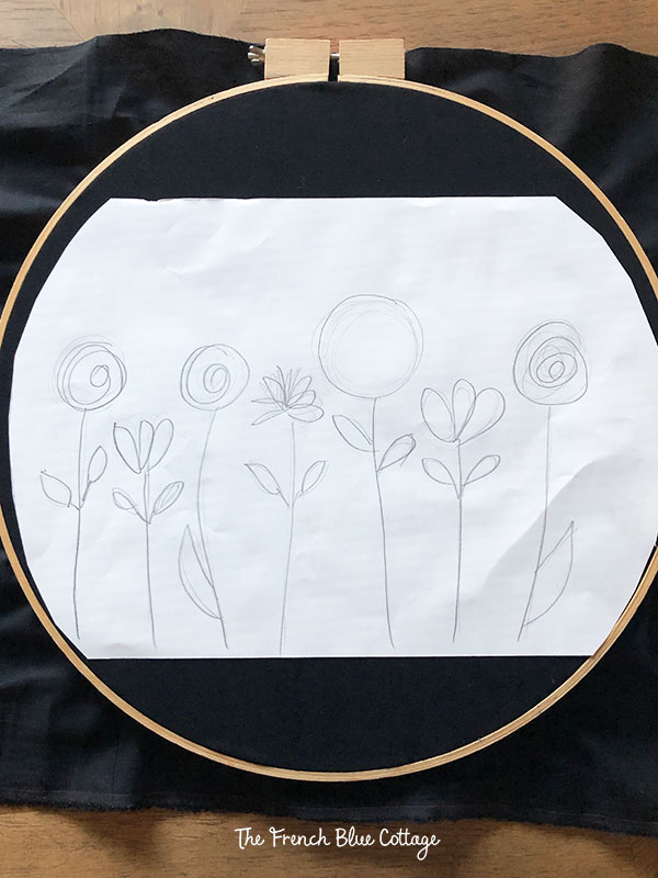 sketch of embroidery flowers