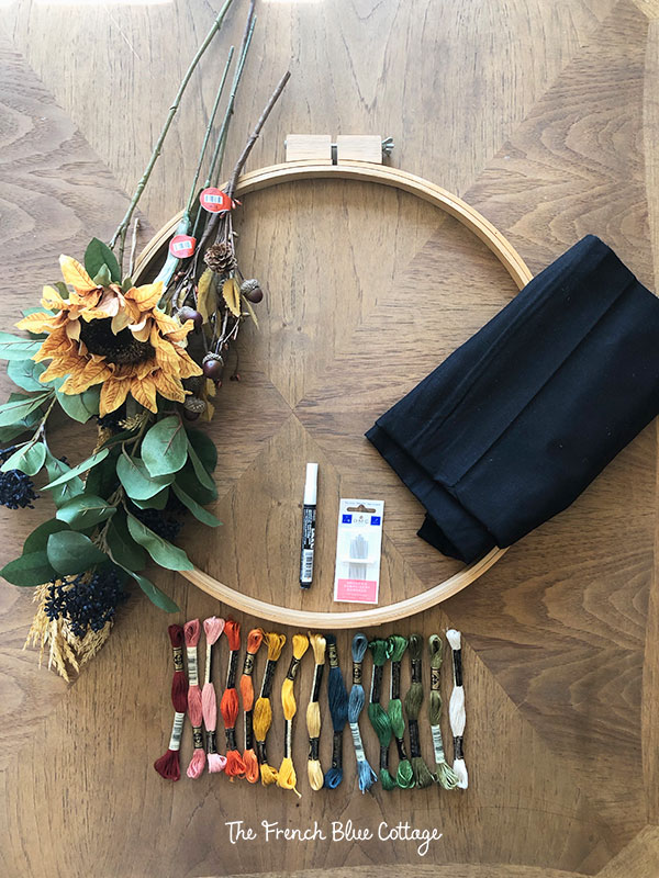 supplies to make embroidery hoop fall wreath