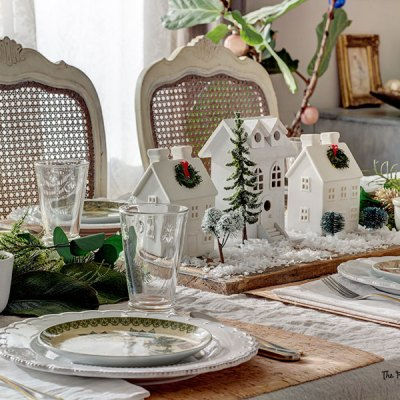 Christmas Dining Table Decor with a Village Centerpiece