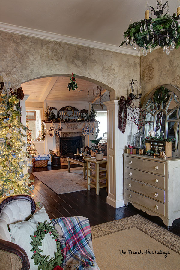 French country Christmas decor in entryway