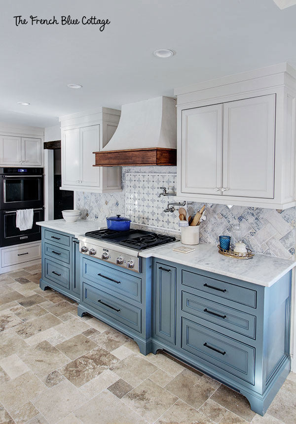 french country kitchen remodel in blue and white and with travertine tile floor