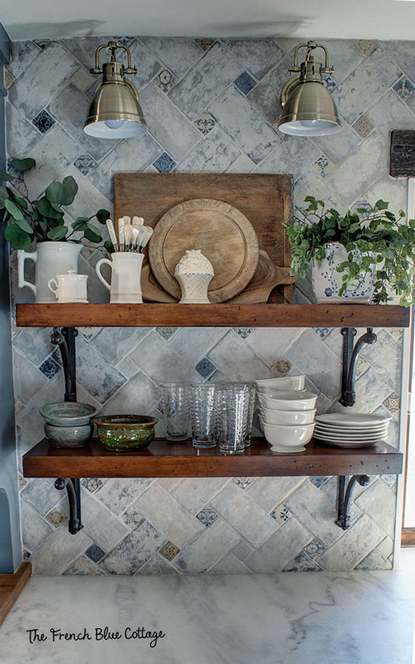 french country kitchen open shelves