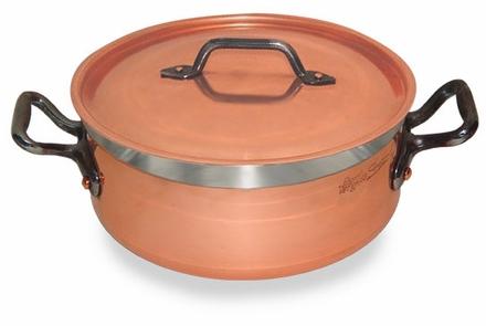 Copper Saute Pan Short Casserole 9.5