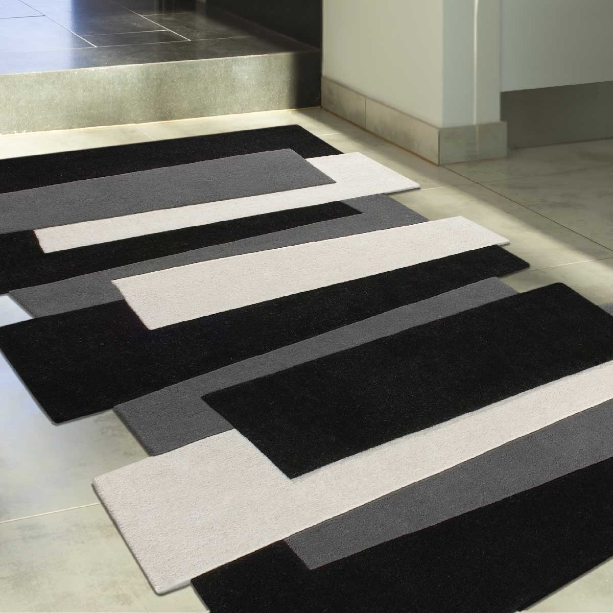 Tapis Marron Et Blanc | Tapis Loup Uni Blanc Collection Tapis