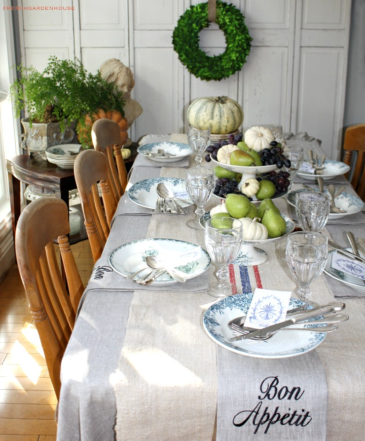 Set a gracious french country harvest table for French country house blog