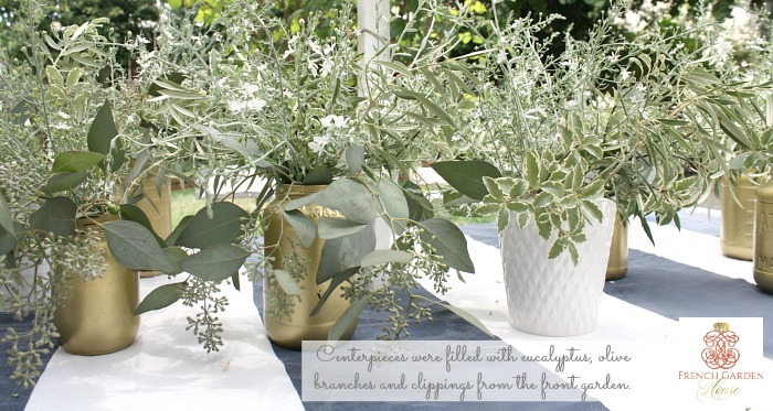 The Tables In The Back Garden Were Layered With White Tablecloths, And Then  Topped With Blue And White Overcloths. Mason Jars Sprayed Gold, And A  Variety Of ...