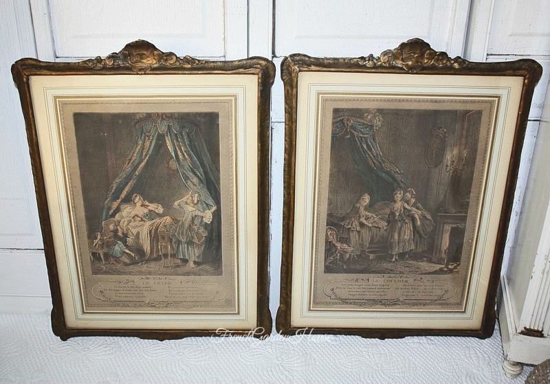 Antique French Boudoir Prints Hand Colored Gilt Gesso