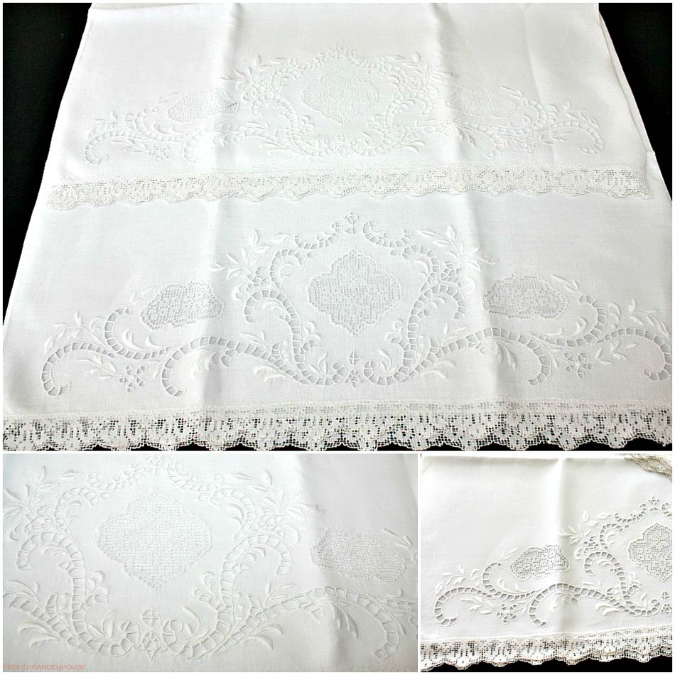 antique white kitchen cabinets equipment irish linen pillowcases hand embroidered lace