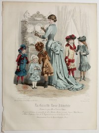 Antique French Hand Colored Fashion Print Lithograph ...
