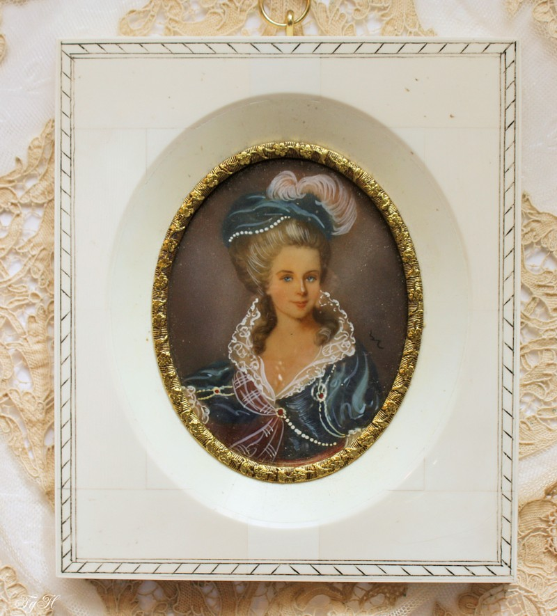 Stunning Hand Painted Antique Miniature Portrait Young