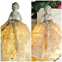 Antique Porcelain Half Doll Boudoir Lamp French La