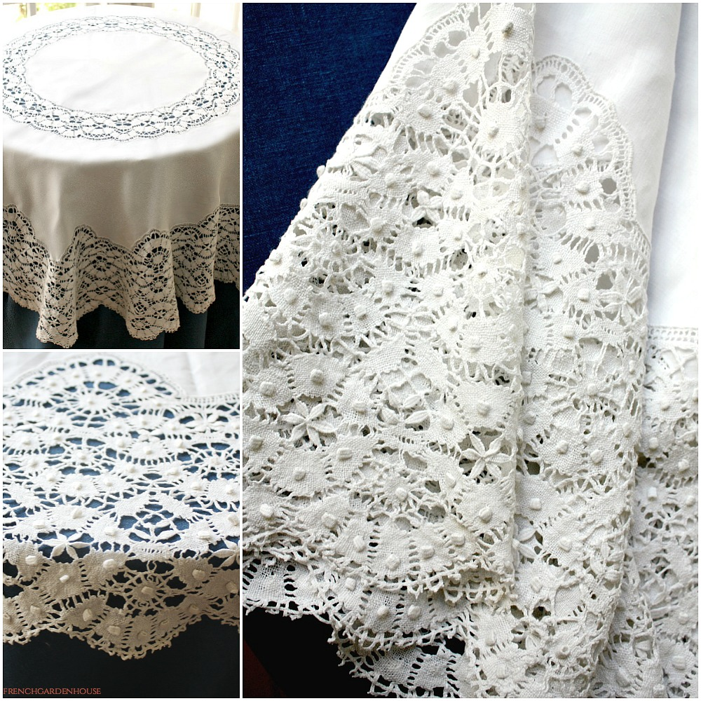 round kitchen table sets credenza hutch antique french linen cluny lace square tablecloth