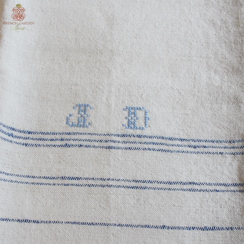 antique linen french kitchen towel light blue monogram j d