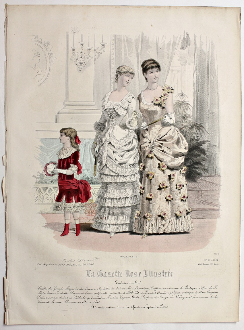 Antique French Hand Colored Fashion Print Lithograph Grand