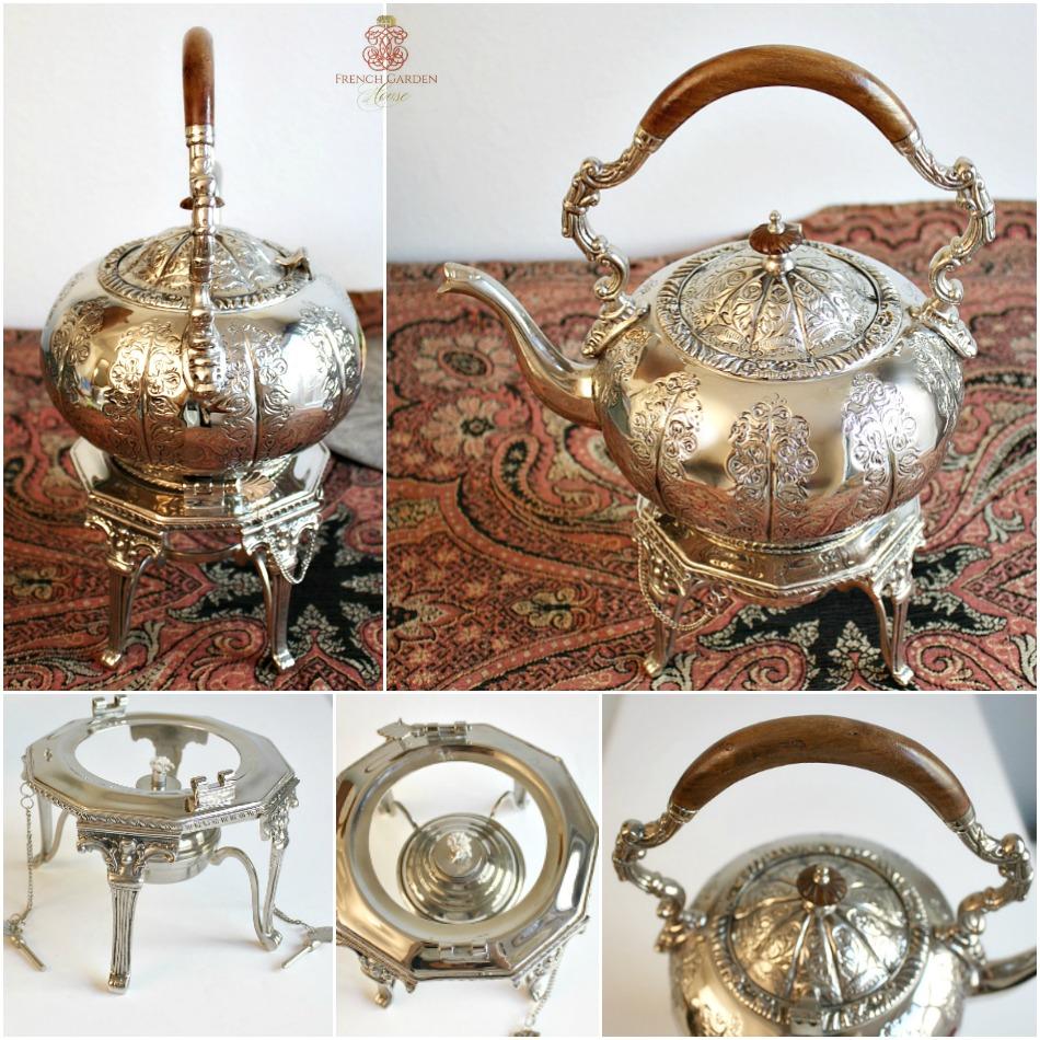Vintage Silver Plate Tilting Tea Pot Stand and Burner