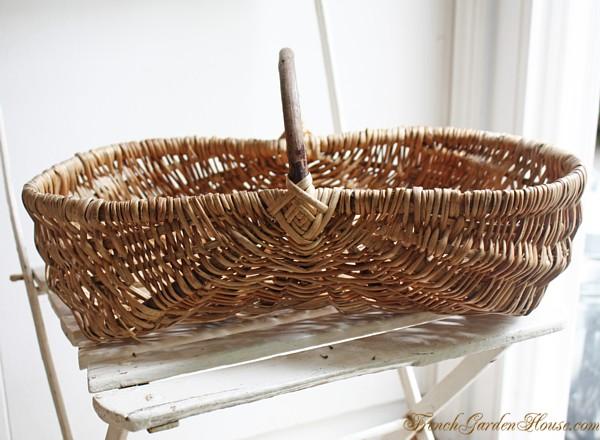 Antique French Harvest Gathering Basket