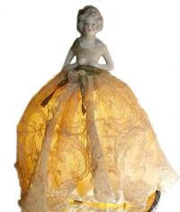 Antique Porcelain Half Doll Boudoir Lamp French La