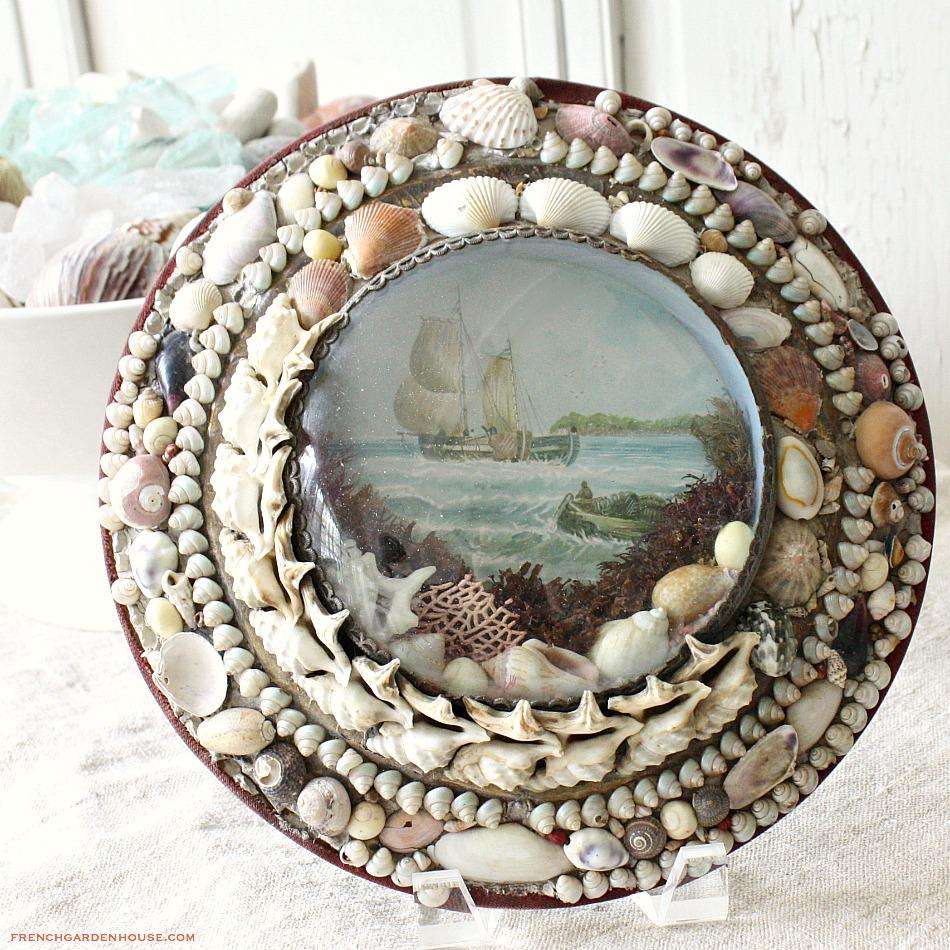 Antique Sailors Valentine Victorian Sea Shell Art Bubble