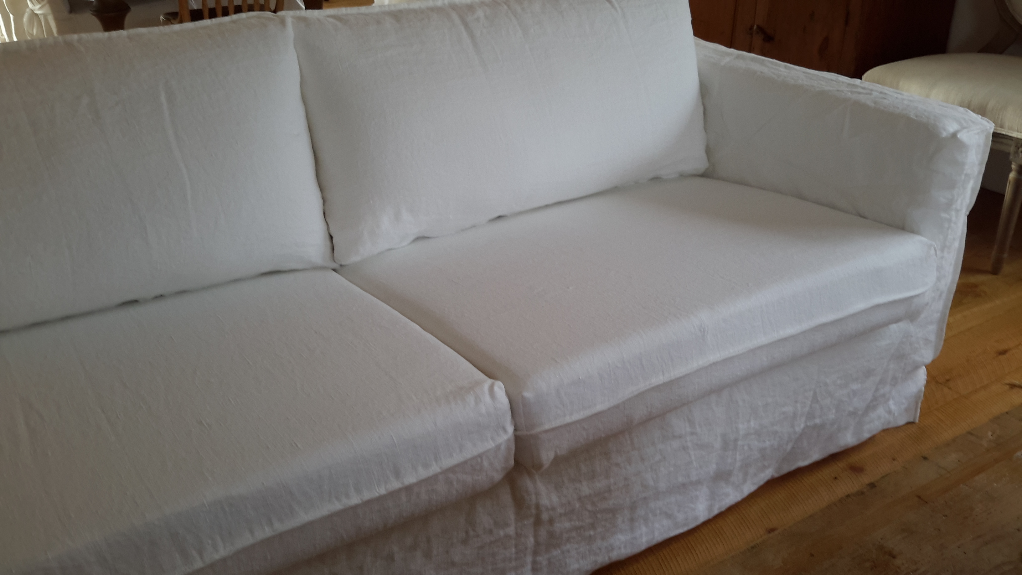 how to clean belgian linen sofa rattan and chairs slipcovered  french grey