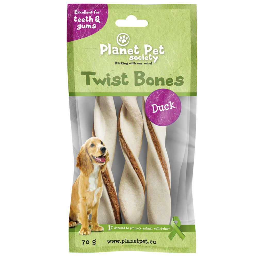 snacks premios perro planet pet society rollito dental pato