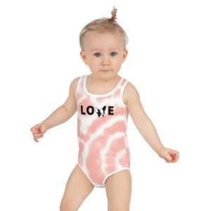 Frenchie Love tie dye kids swimsuit