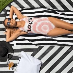 Frenchie Love tie dye one-piece swimsuit